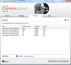 UpdateStar Online Backup screen 1