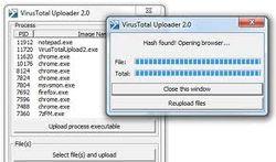 VirusTotal Uploader screen1.