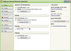 Webroot Internet Security Essentials screen