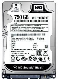 Western Digital Scorpio Black 750 Go