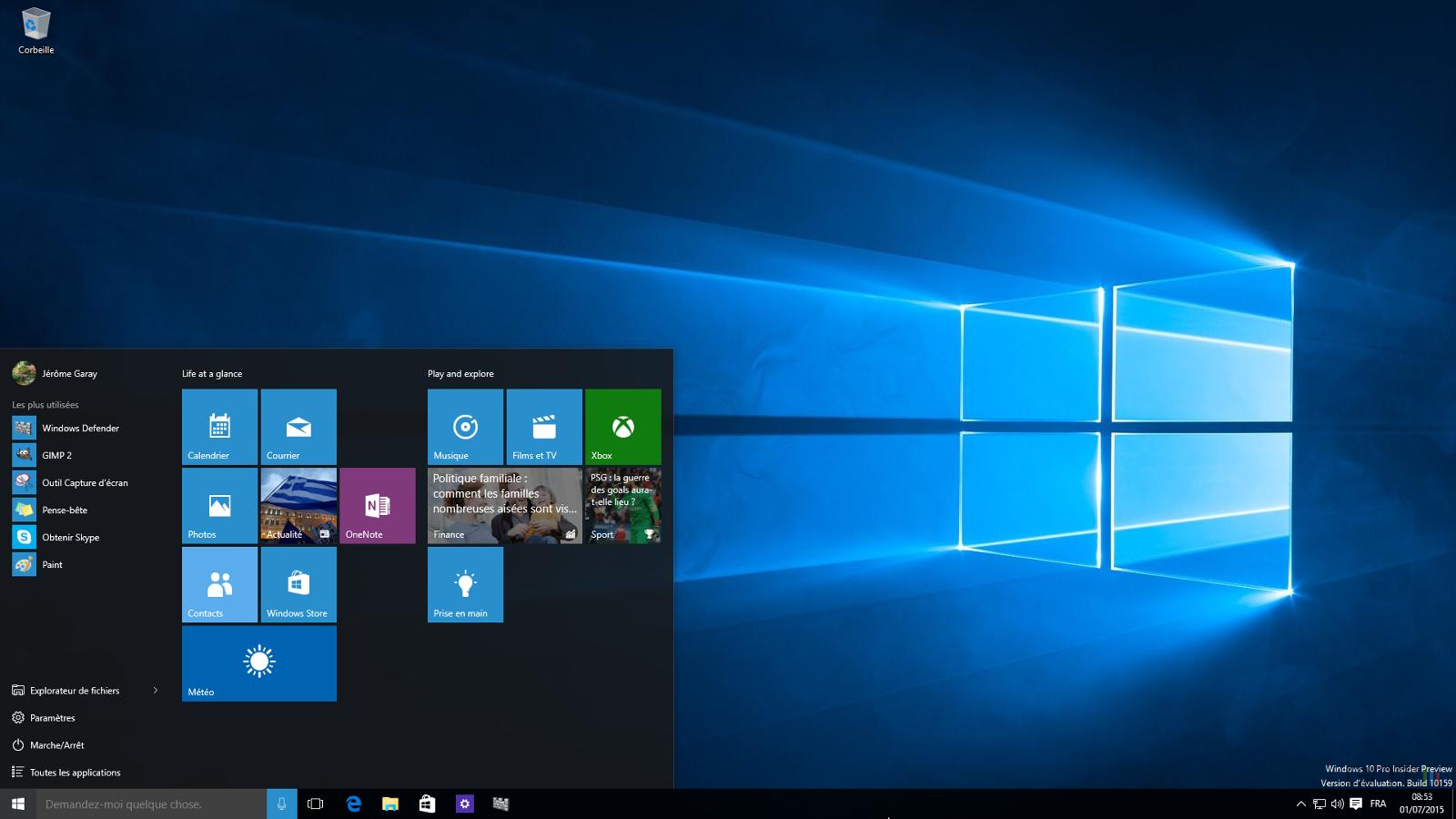 Windows 10 build 10159 bureau for Bureau windows