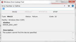 Windows Error Code Lookup Tool screen2