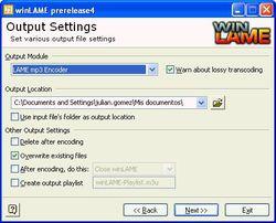 winLAME screen 2