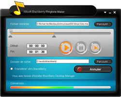 Xilisoft BlackBerry Ringtone maker screen