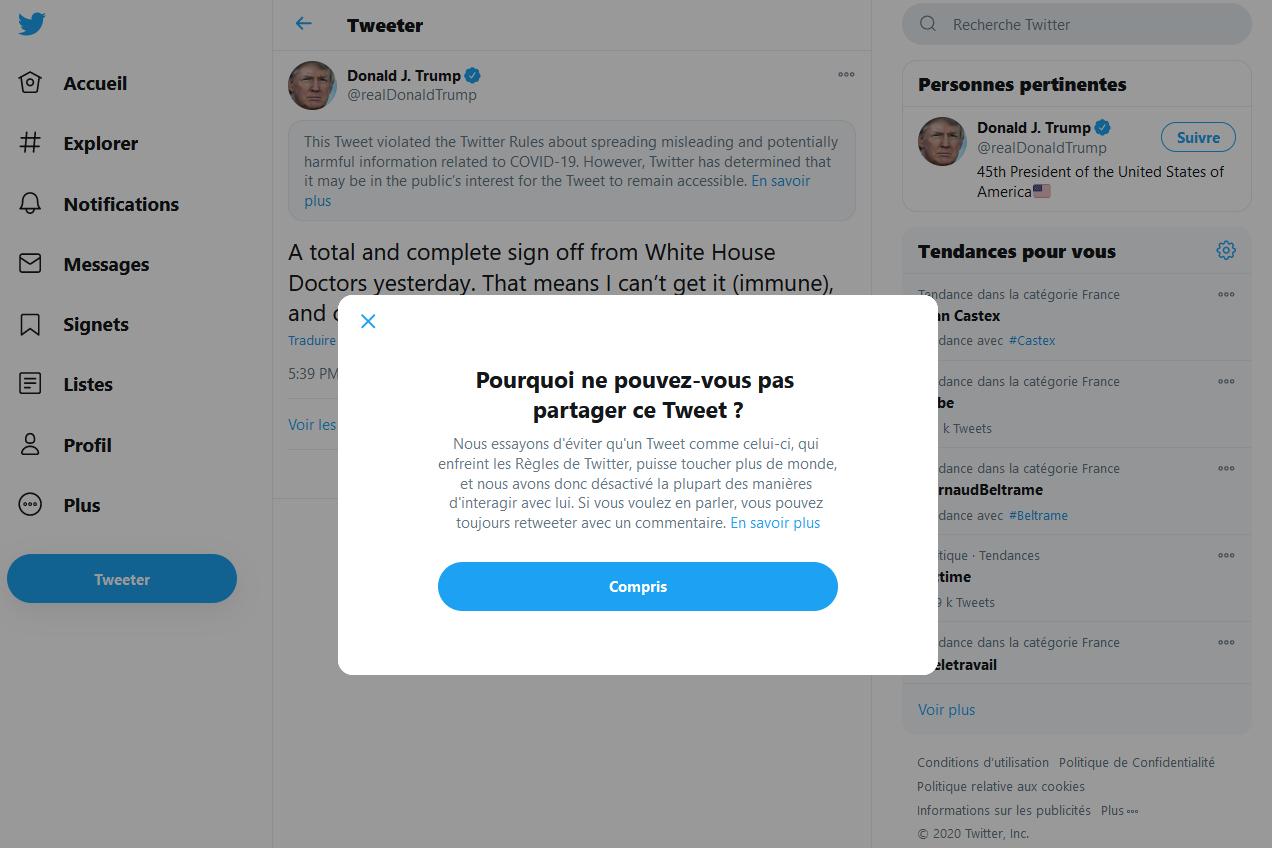 Le tweet de Donald Trump sur son immunité contre le Covid-19 sanctionné