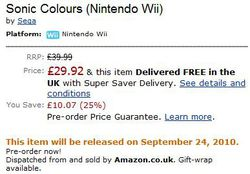 Sonic Colours Wii - Sortie Amazon