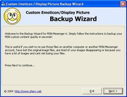 Messenger Backup Wizard screen