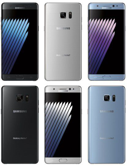 Samsung Galaxy Note 7 coloris.