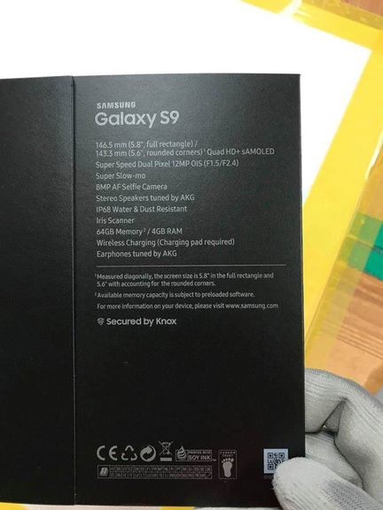 Galaxy S9 packaging
