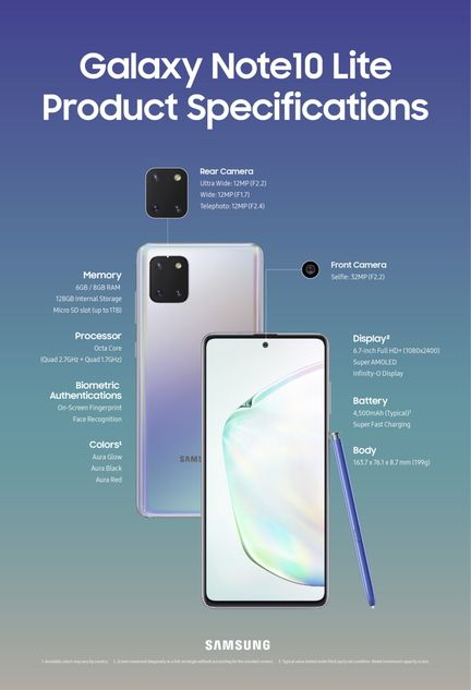 Galaxy Note 10 Lite specs
