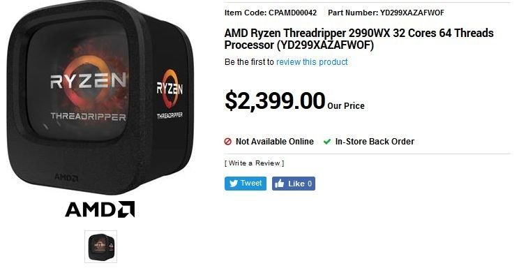 AMD Threadripper 2990X revendeur