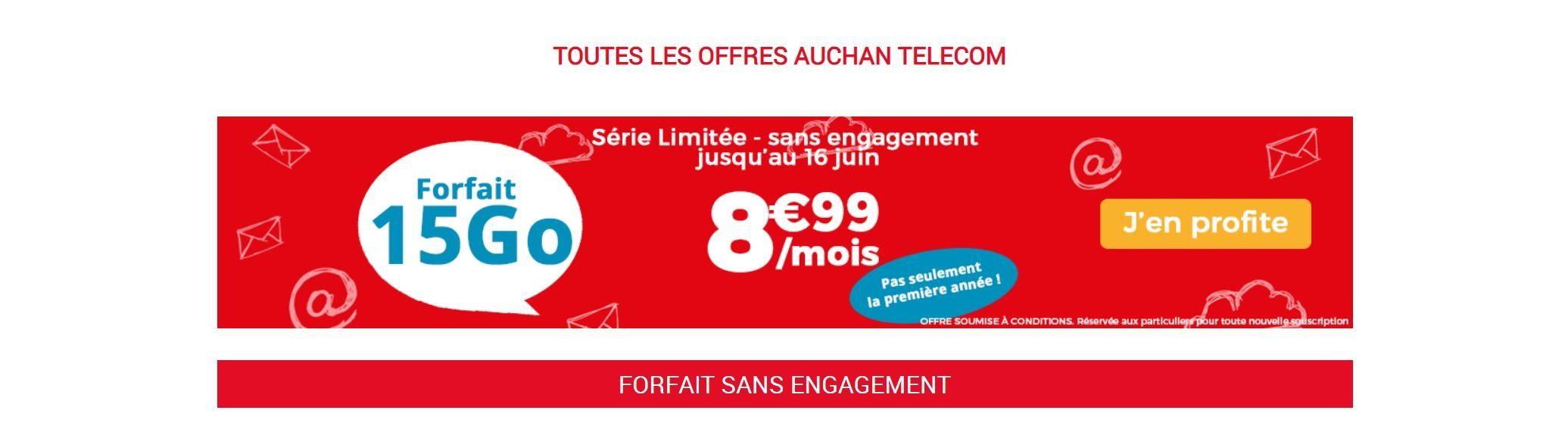 Carte Sim Auchan Gratuite.Forfait Mobile Le Forfait Auchan Telecom 15 Go A 8 99