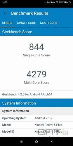 Xiaomi Redmi 5 Plus Geekbench