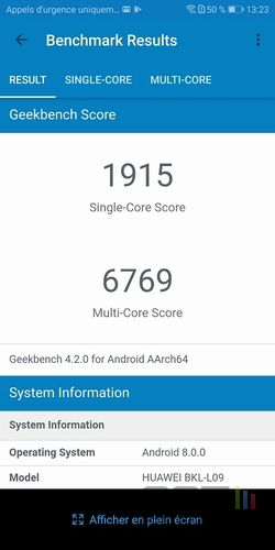 Honor View 10 Geekbench