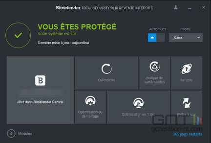 Bitdefender total security 2016 accueil
