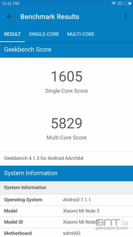 Xiaomi Mi Note 3 Geekbench
