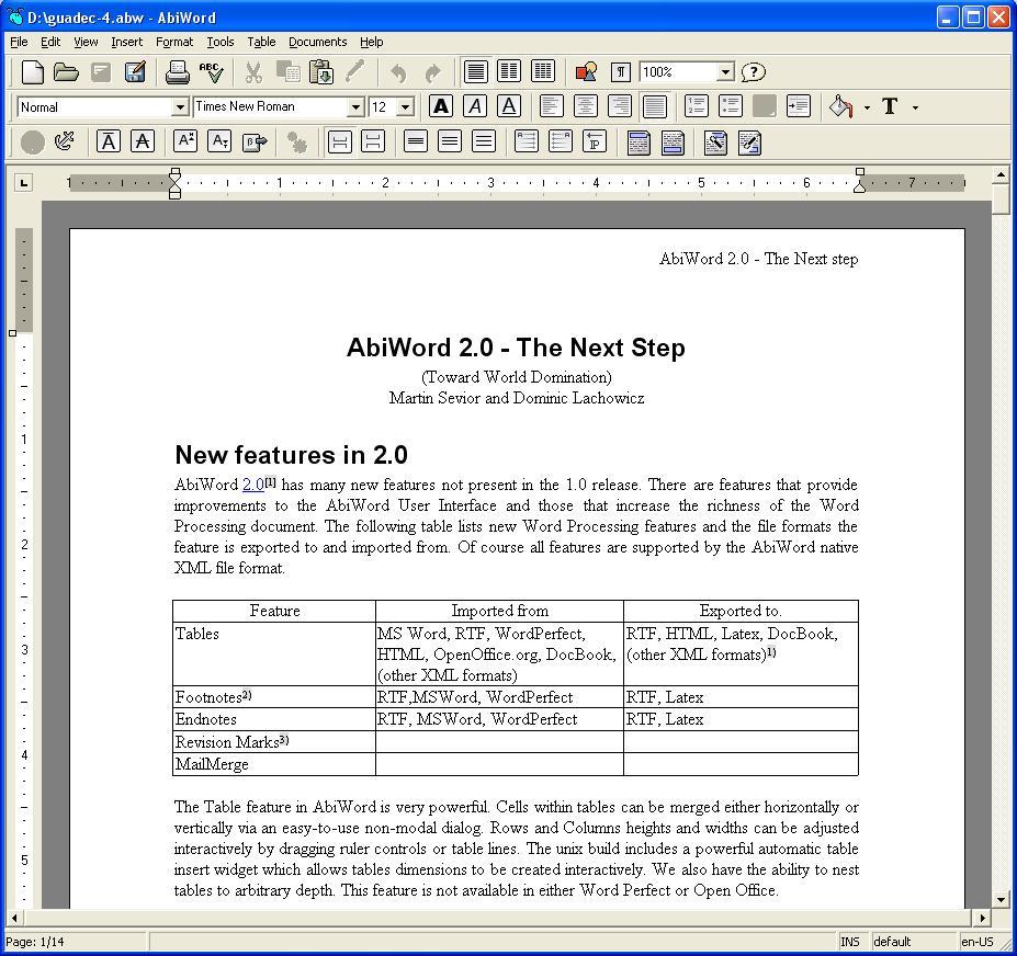 Abiword nouvelle version du traitement de texte opensource - Nouvelle version open office gratuit ...
