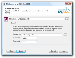 Access To MySQL screen1