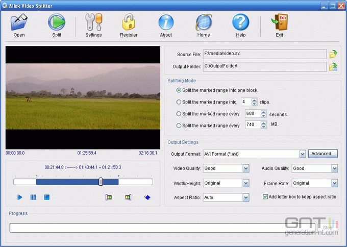 Allok Video Splitter screen