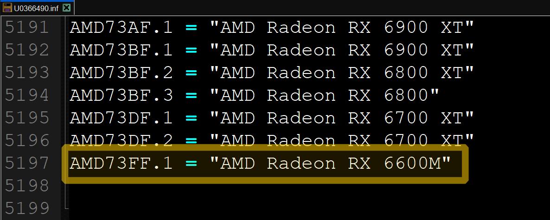 AMD Radeon RX 6600M pilote