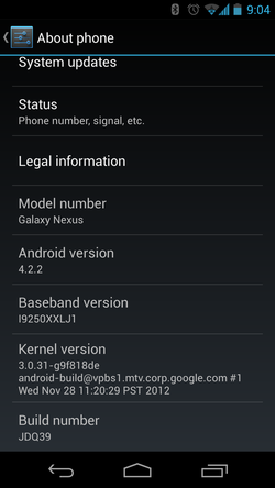 Android 4.2.2 Google Galaxy Nexus