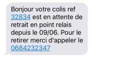 Arnaque SMS colis