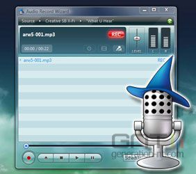 Audio Record Wizard screen