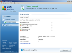 AVG Anti-Virus Free Edition screen1