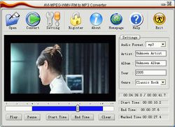 AVI MPEG WMV RM to MP3 Converter screen