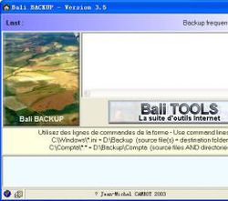 Bali BACKUP screen