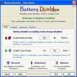 Battery Doubler screen 1