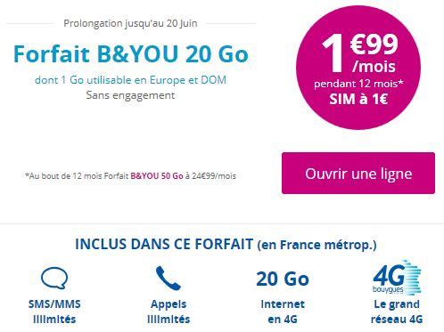 forfait 20 go 1 99 bouygues telecom prolonge avec la carte sim 1. Black Bedroom Furniture Sets. Home Design Ideas