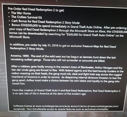 Bonus précommande Red Dead Redemption 2