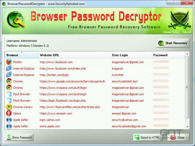 BrowserPasswordDecryptor screen1