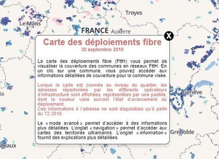 Carte fibre ARCEP