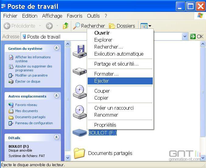 Ejecter clé USB Windows XP