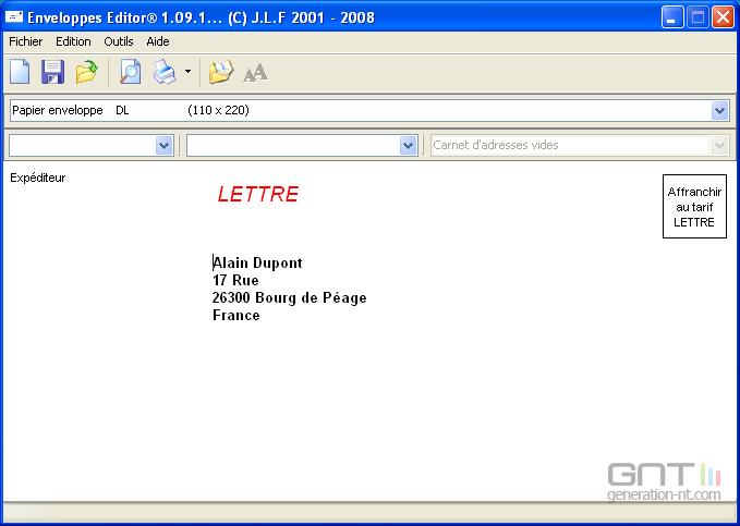 Enveloppes Editor screen2