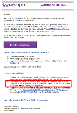fin yahoo mail classique