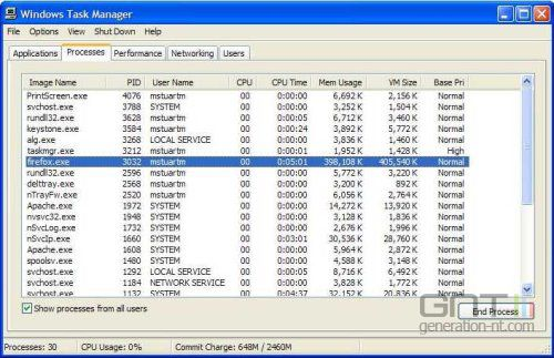 Firefox 1 5 usage memoire task manager windows