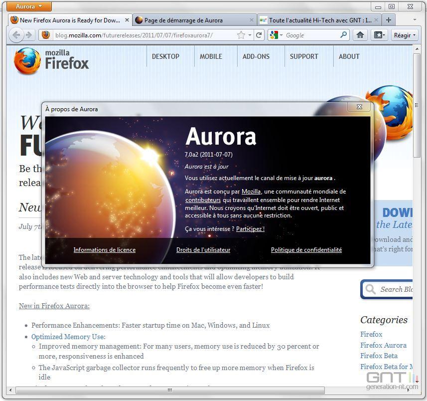 Firefox 7 est Aurora avec gestion mémoire améliorée