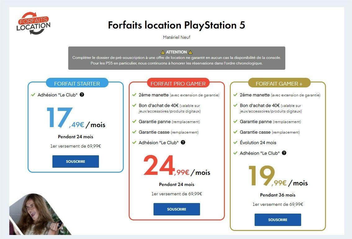 Forfait location PS5 Micromania