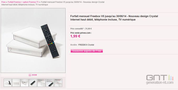 Freebox crystal vente privée