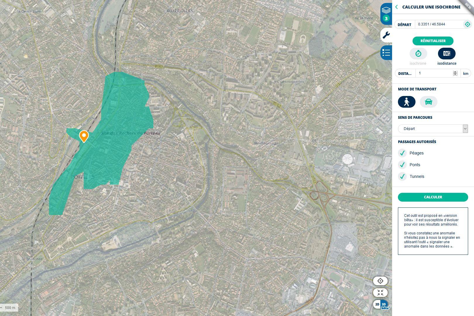 Géoportail pour visualiser la zone d'1 km du déplacement dérogatoire