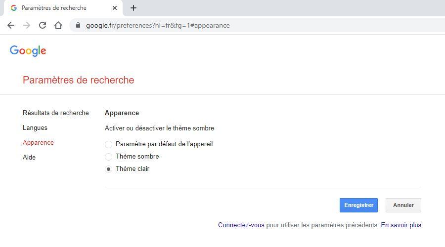 google-apparence-choix-theme