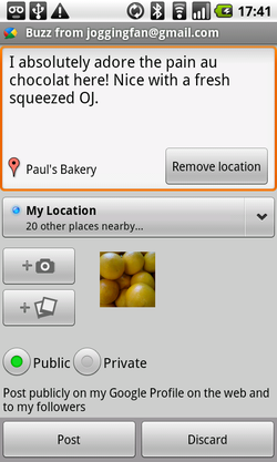 Google Buzz widget Android 02