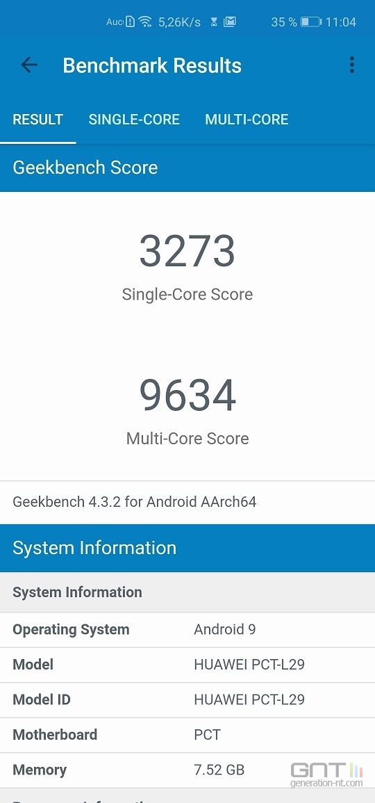 Honor View 20 Geekbench nominal