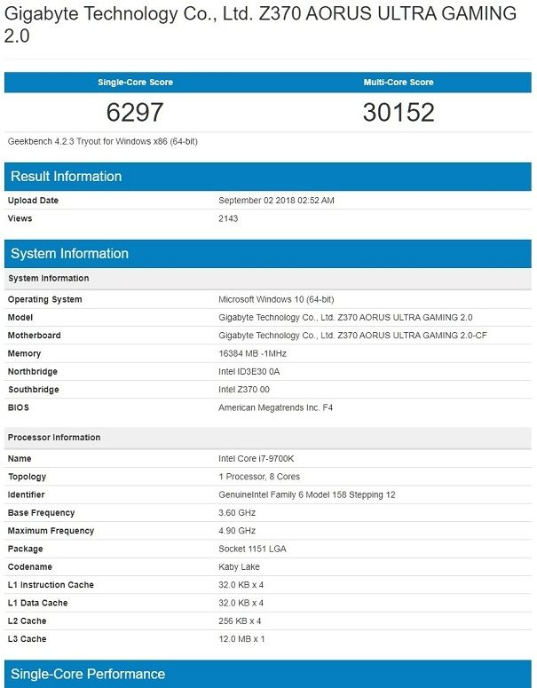 Intel Core i7 9700K Geekbench