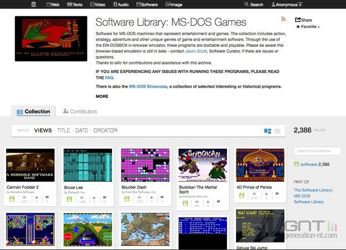 Internet Archive - jeux MS-DOS