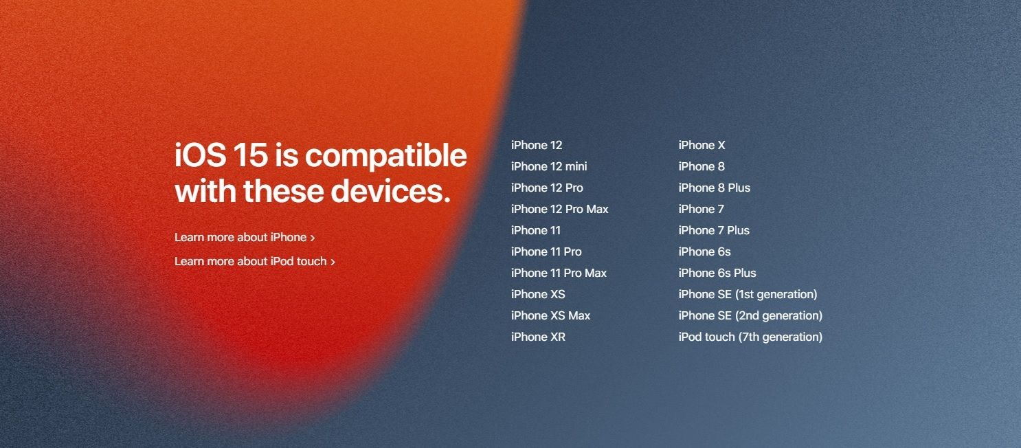 iOS 15 iPhone compatible