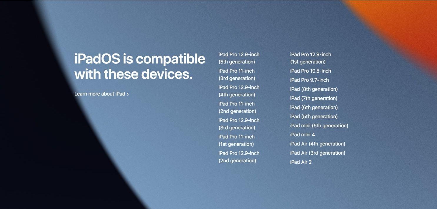 iPadOS 15 iPad compatible